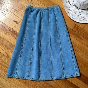 Dresses & Skirts - 2/$15 Blue Faux Suede and Crocheted Skirt + FG